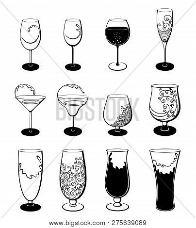 Vector Set Of Isolated, Abstract, Stylized  Outline Stemware And Glasses On White Background. Illust
