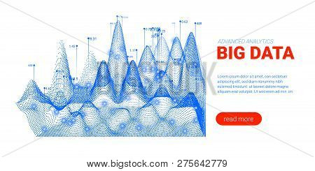 Artificial Intelligence, Big Data Analysis Visualization. Landing Page Template With Quantum Cryptog