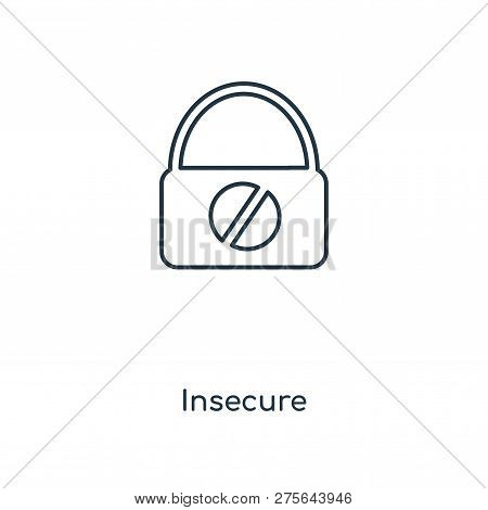 Insecure Icon In Trendy Design Style. Insecure Icon Isolated On White Background. Insecure Vector Ic