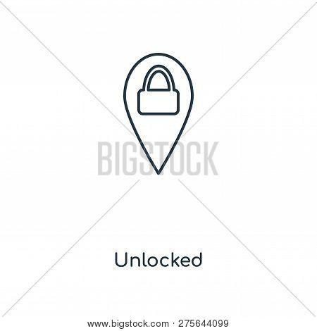 Unlocked Icon In Trendy Design Style. Unlocked Icon Isolated On White Background. Unlocked Vector Ic