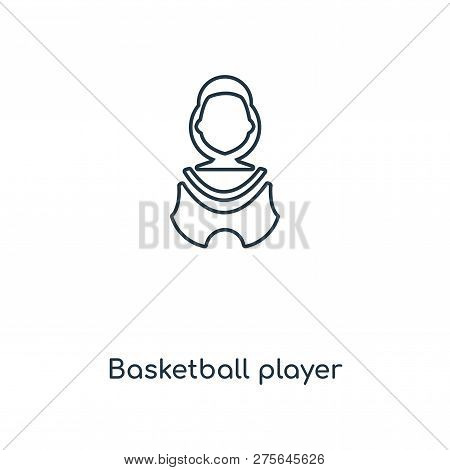 Basketball Player Icon In Trendy Design Style. Basketball Player Icon Isolated On White Background.