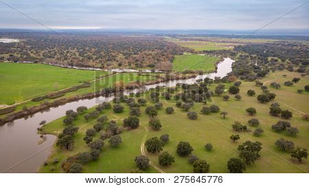 Beautiful aerial view of the coutryside in Extremadura
