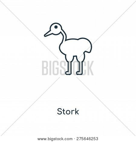 Stork Icon In Trendy Design Style. Stork Icon Isolated On White Background. Stork Vector Icon Simple