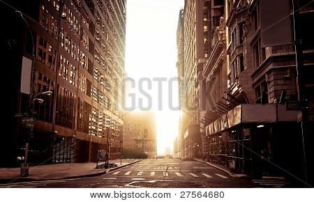 Absolutely empty street in New York early morning