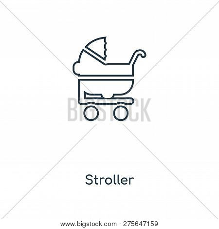 Stroller Icon In Trendy Design Style. Stroller Icon Isolated On White Background. Stroller Vector Ic