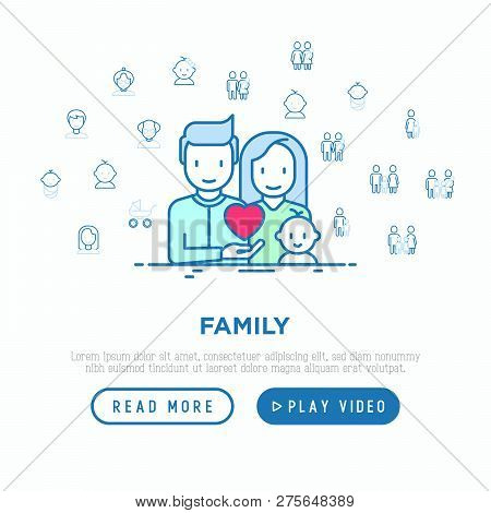 Family Concept: Young Couple With Newborn. Thin Line Icons: Mother, Father, Son, Daughter, Lesbian,