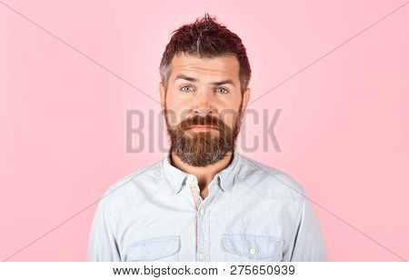 Facial Expression, Emotions&feelings. Serious Bearded Man In Casual Clothes. Fashion Model With Styl