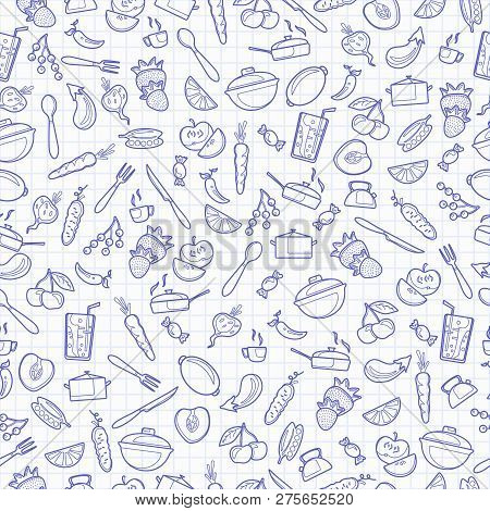 Seamless Pattern With Outline Icons On A Theme Kitchen Accessories And Food , Blue  Contour  Icons O