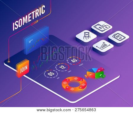 Isometric Vector. Set Of Private Payment, Fast Payment And Checklist Icons. Chart Sign. Secure Finan