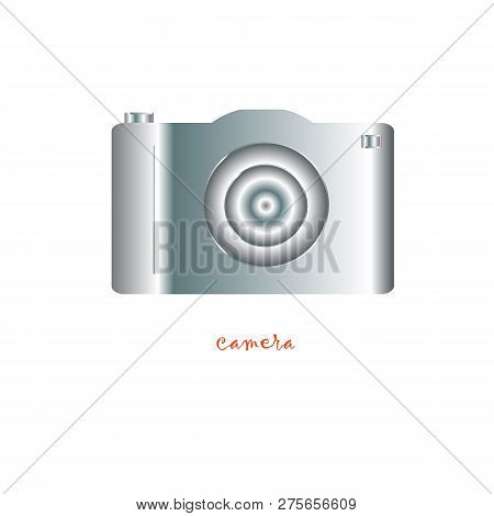 Photo Camera Icon. Silver Photo Camera On White Background. Photo Camera Icon Object. Photo Camera I