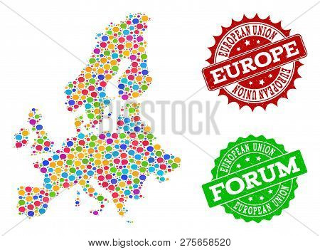 Social Network Map Of Euro Union And Grunge Stamp Seals In Red And Green Colors. Mosaic Map Of Euro