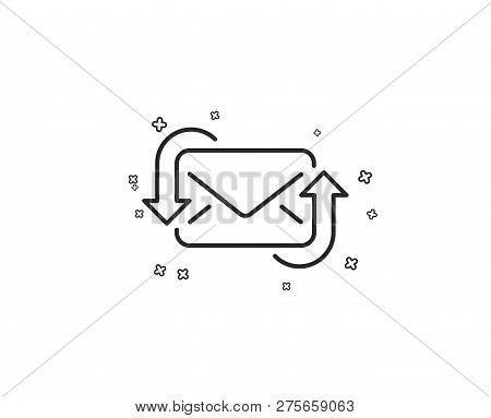 Refresh Mail line icon. New Messages correspondence sign. E-mail symbol. Geometric shapes. Random cross elements. Linear Refresh Mail icon design. Vector poster