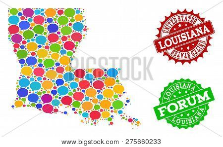 Social Network Map Of Louisiana State And Distress Stamp Seals In Red And Green Colors. Mosaic Map O