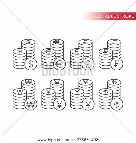 Pile Of Currency Coins Vector Money Icon Set. Thin Line Coin Stack, Editable Stroke Coin Stack Icons