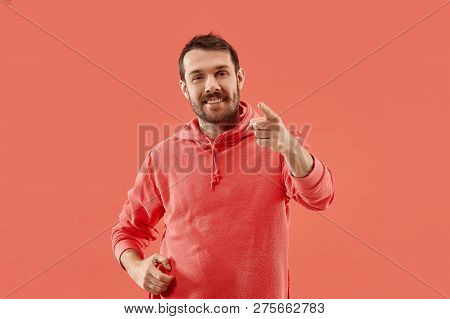 I Choose You And Order. The Smiling Business Man Point You, Want You, Half Length Closeup Portrait O
