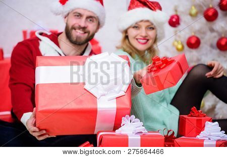 Love Is Best Gift. Family Married Couple At Home. Couple In Love Enjoy Christmas Holiday Celebration