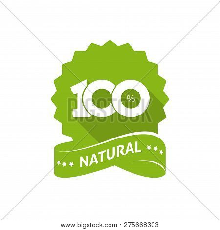 100 Percent Natural Vector Green Label With Ribbon Isolated On White Background, 100 Percent Natural