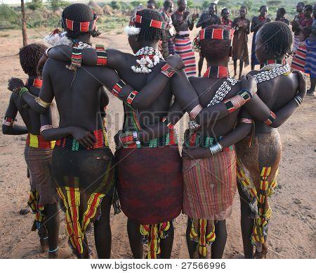Women dancers of Ethiopia's hamer Tribe