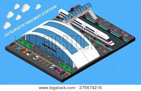 Futuristic Railway Station Isometric Composition With Spacious Station Speed Train And Elevated Pede