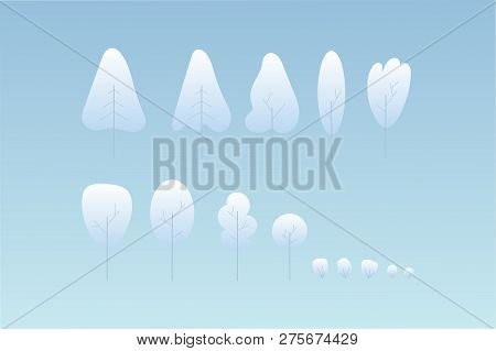 Winter Set Of Modern Gradation Trees And Bushes Design. Fantasy Plants Under The Snow. Vector Illust