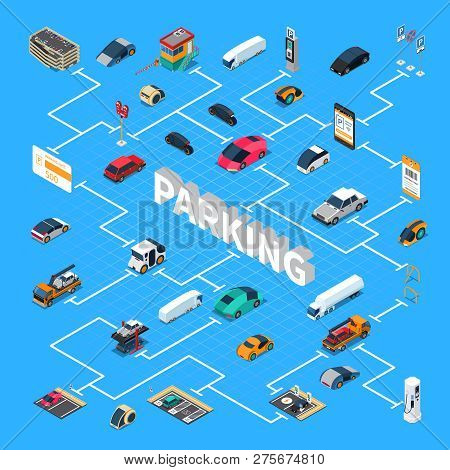 Parking Lots Spaces Facilities Isometric Flowchart With Indoor And Outdoor Multilevel Structures Car