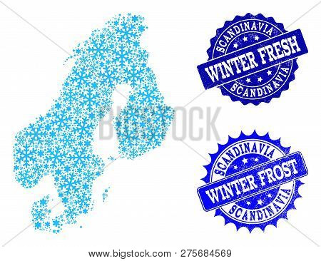Icy Map Of Scandinavia And Scratched Stamp Seals In Blue Colors With Winter Fresh And Winter Frost T
