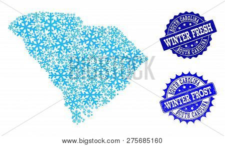 Snowed Map Of South Carolina State And Rubber Stamp Seals In Blue Colors With Winter Fresh And Winte