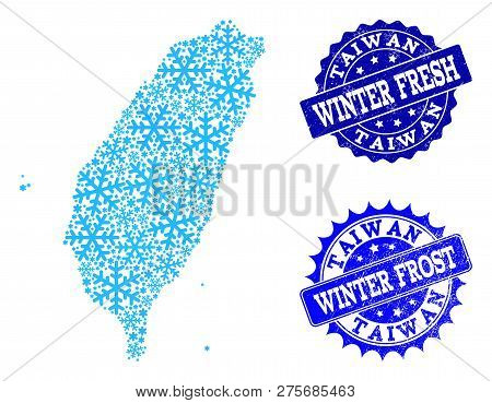 Icy Map Of Taiwan And Distress Stamp Seals In Blue Colors With Winter Fresh And Winter Frost Titles.