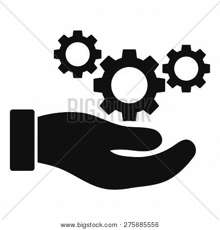 Cogs Service Hand Vector Icon On A White Background. An Isolated Flat Icon Illustration Of Cogs Serv