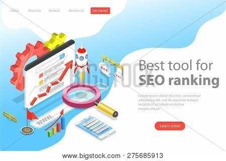 Flat Isometric Vector Landing Page Template Of Seo Ranking Tool.