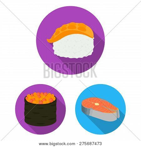 Isolated Object Of Sushi And Fish Sign. Collection Of Sushi And Cuisine Stock Symbol For Web.