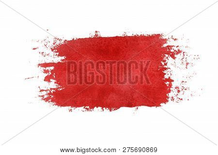 Dark Red Watercolor Grungy Brush Strokes Painted On White Background. Hand Madedark Red Watercolor P