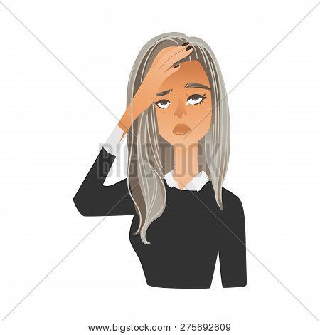 Vector illustration of anxious woman having negative frustrated stressed expression or headache. poster