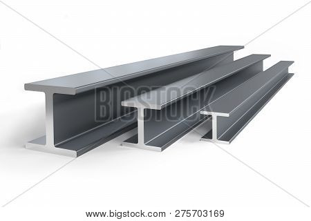 Thee Steel I-beams Of Different Size -  3d Rendering