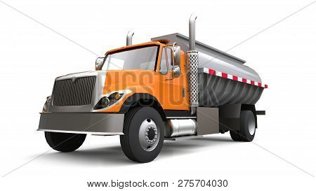 Large Orange Truck Tanker With A Polished Metal Trailer. Views From All Sides. 3d Illustration.