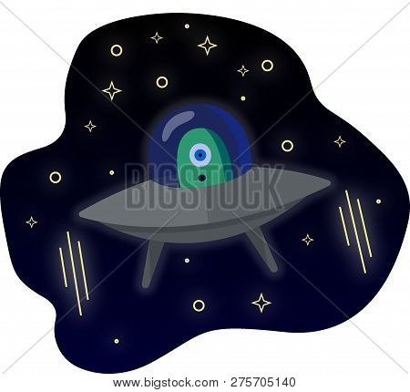 Illustration Of A Surprised Alien Flying Through Space On A Flying Saucer, Stars In Space