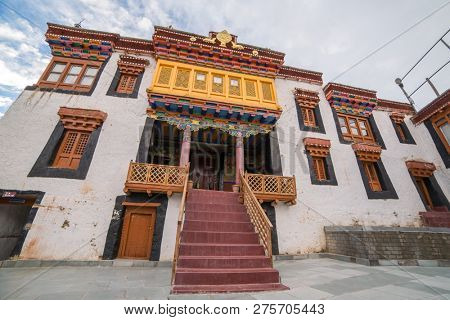 Ladakh, India - June 21, 2017: Entrance to Likir Gompa Monastery in Ladakh, India