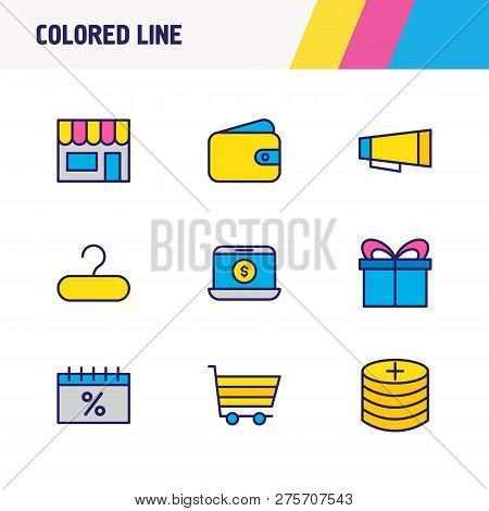 Vector Illustration Of 9 Commerce Icons Colored Line. Editable Set Of Add Coins, Wallet, E-commerce