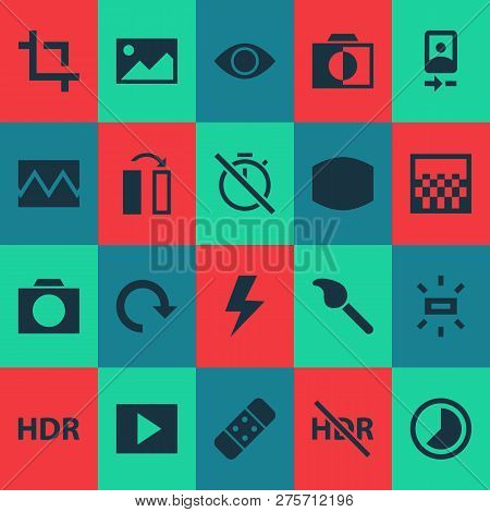 Photo Icons Set With Broken Image, Camera Front, Chronometer And Other Smartphone Elements. Isolated