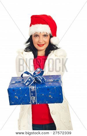 Woman With Santa Hat Giving Present