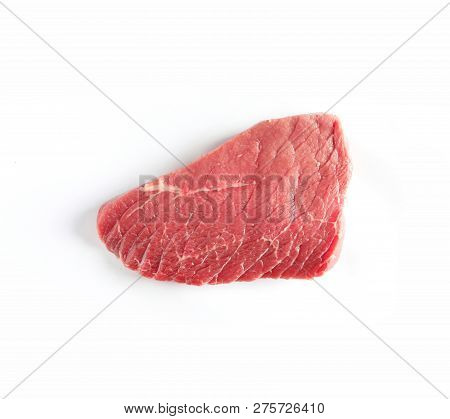 Piece Of Raw Beef On White Background, Top View. Natural Food High In Protein
