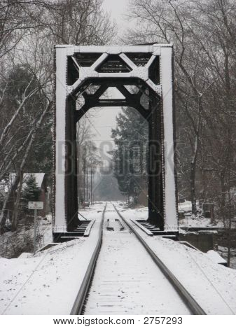 Snowy Train Bridge