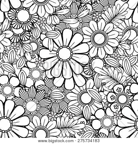 Monochrome Floral Background. Hand Drawn Decorative Flowers. Perfect For Wallpaper, Adult Coloring B