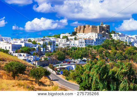 view of Monastery of st.John in Patmos island, Dodecanese, Greece