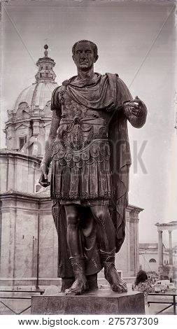 Statue Of Julius Caesar In Rome, Italy (stylized Old Photo)