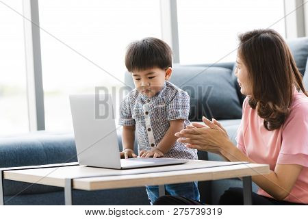 Asian Family, Happy Time At Home, Young Beautiful Mother, Sitting On Floor, Cute, Adorable Toddler,