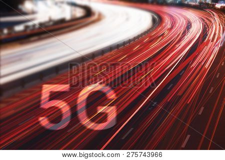 5g New Wireless Internet Wifi Connection On Cars Light Trails At Night