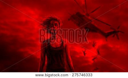 Girl Warrior And Falling Helicopter In Red Background. Drawing Illustration In Genre Of Fiction. Zom