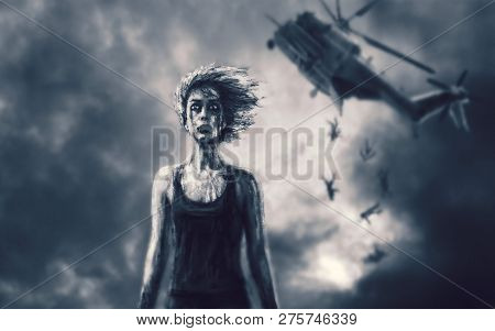 Female Character In Military Uniform And And Downed Helicopter In Blue Background. Drawing Illustrat
