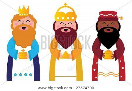 Three Wise Men Bringing Gifts To Christ, Isolated On White
